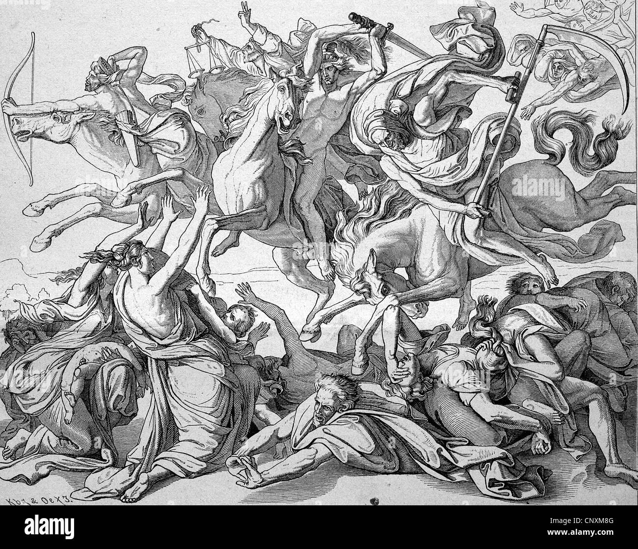 The ride of the Four Horsemen of the Apocalypse, historical engraving, 1883 - Stock Image