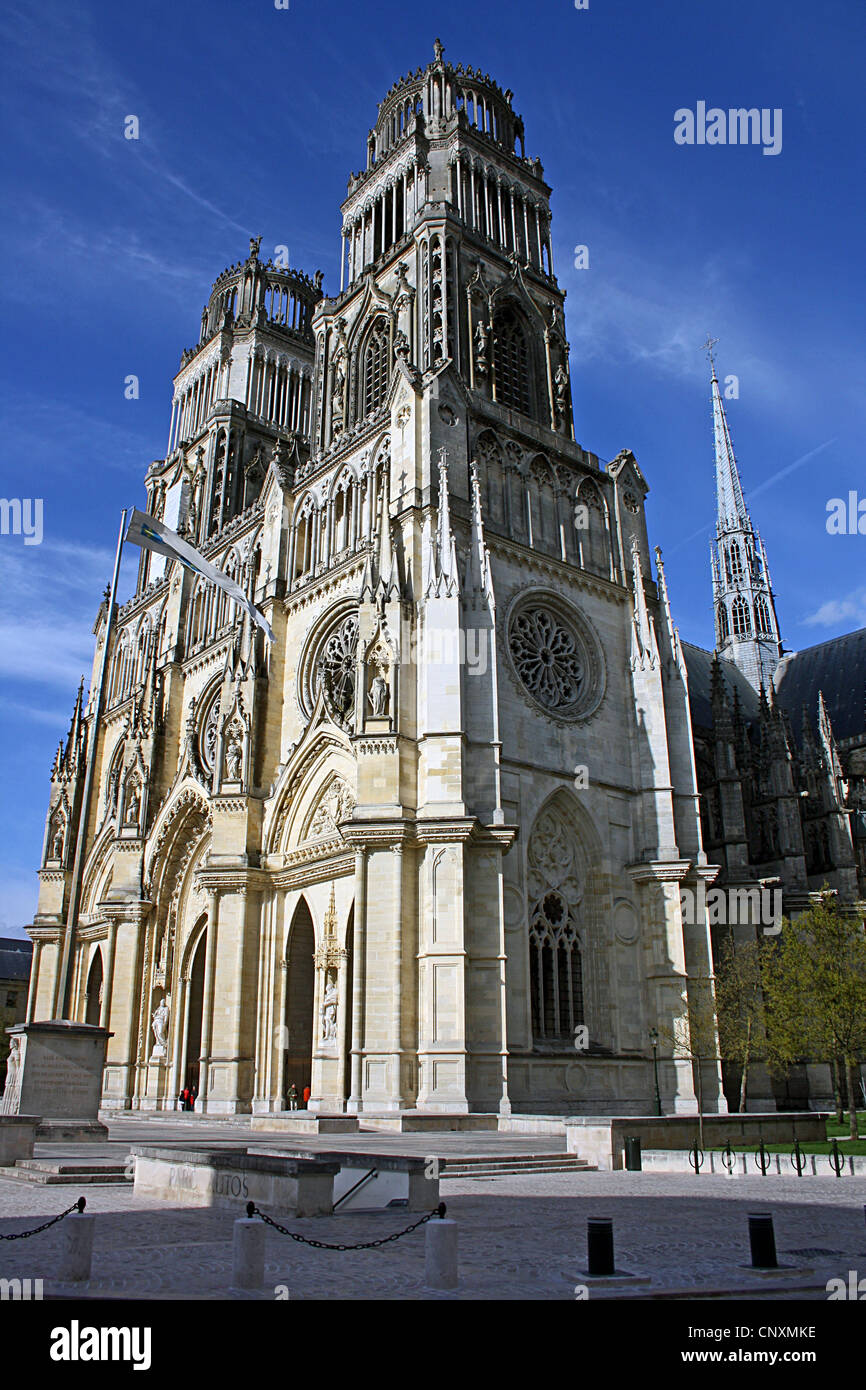 Oblique view, West front, Orléans Cathedral France - Stock Image