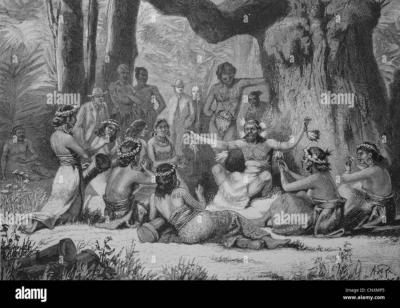 Medicine man on the Marshall Islands, historical engraving, 1883 - Stock Image