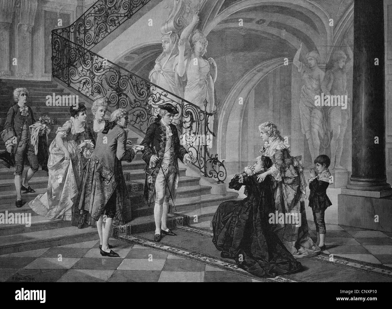 Clemency, historical engraving, circa 1885 - Stock Image