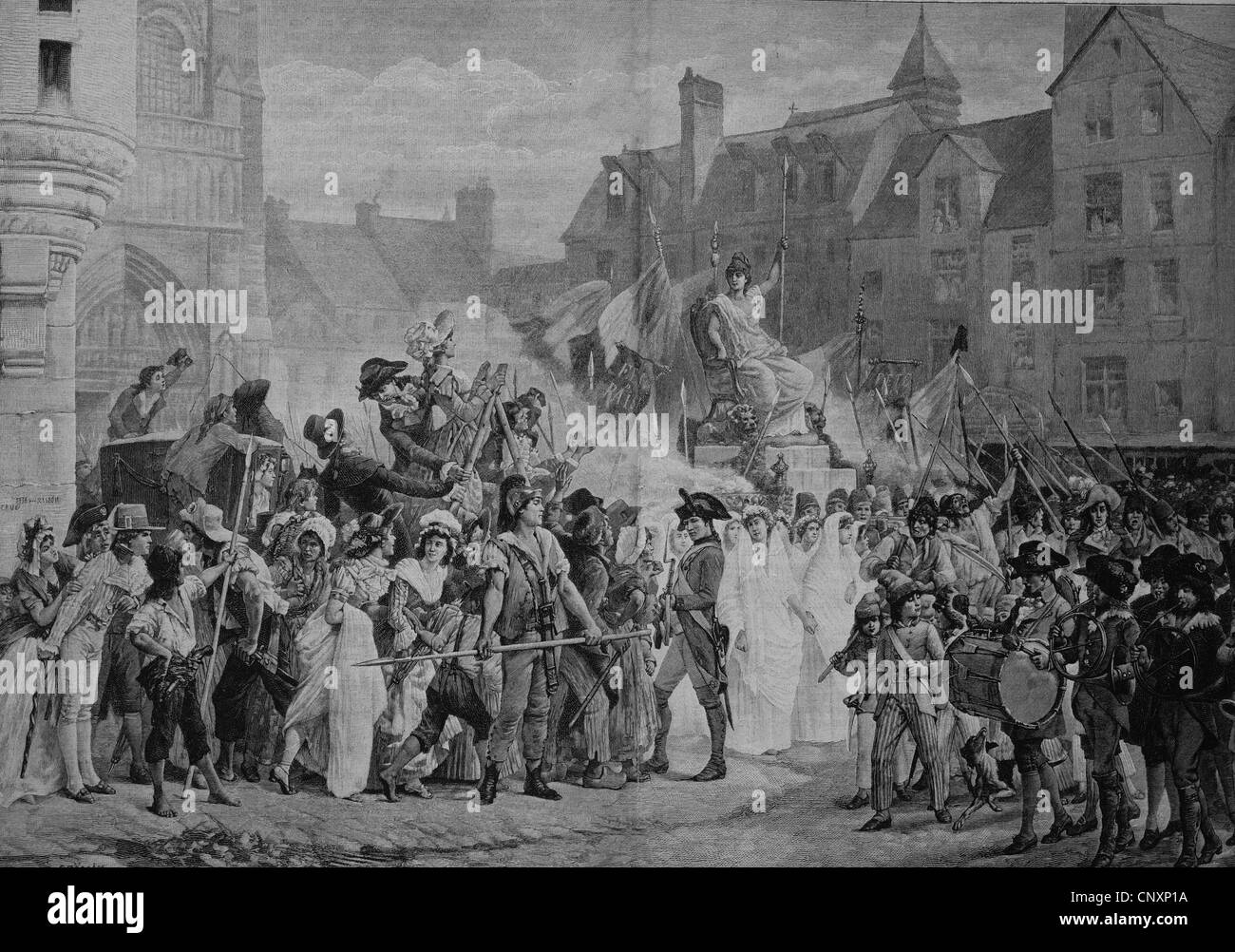 The celebration of the Goddess of Reason in Paris in 1793, the French Cult of Reason, Culte de la Raison, belonged - Stock Image