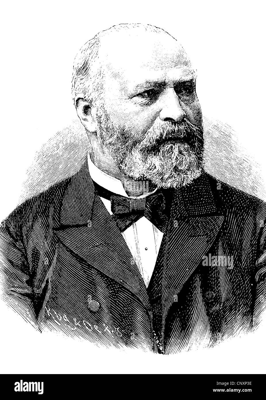 Johann Bernhard Aloys Gudden, since 1875, Ritter von Gudden, 1824 - 1886, a German physician, historical engraving, - Stock Image
