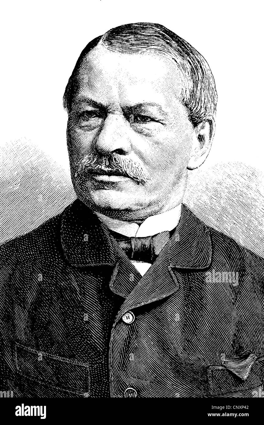 Gustav Freytag, 1816 - 1895, a German writer, historical engraving, circa 1885 Stock Photo