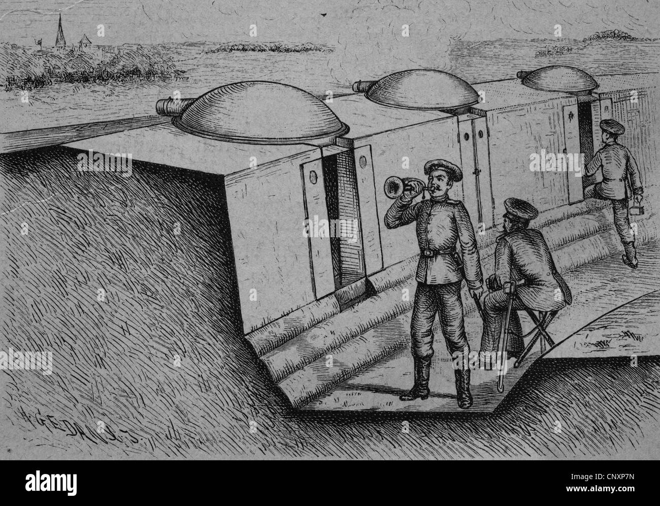 Trenches with wheeled armored turrets, historical engraving, circa 1885 - Stock Image