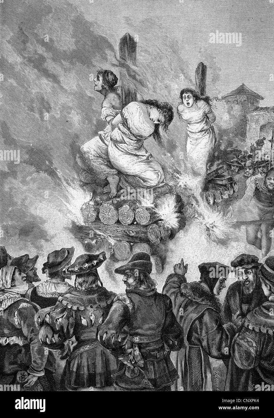 Burning of witches in medieval times, historical engraving of 1883 - Stock Image