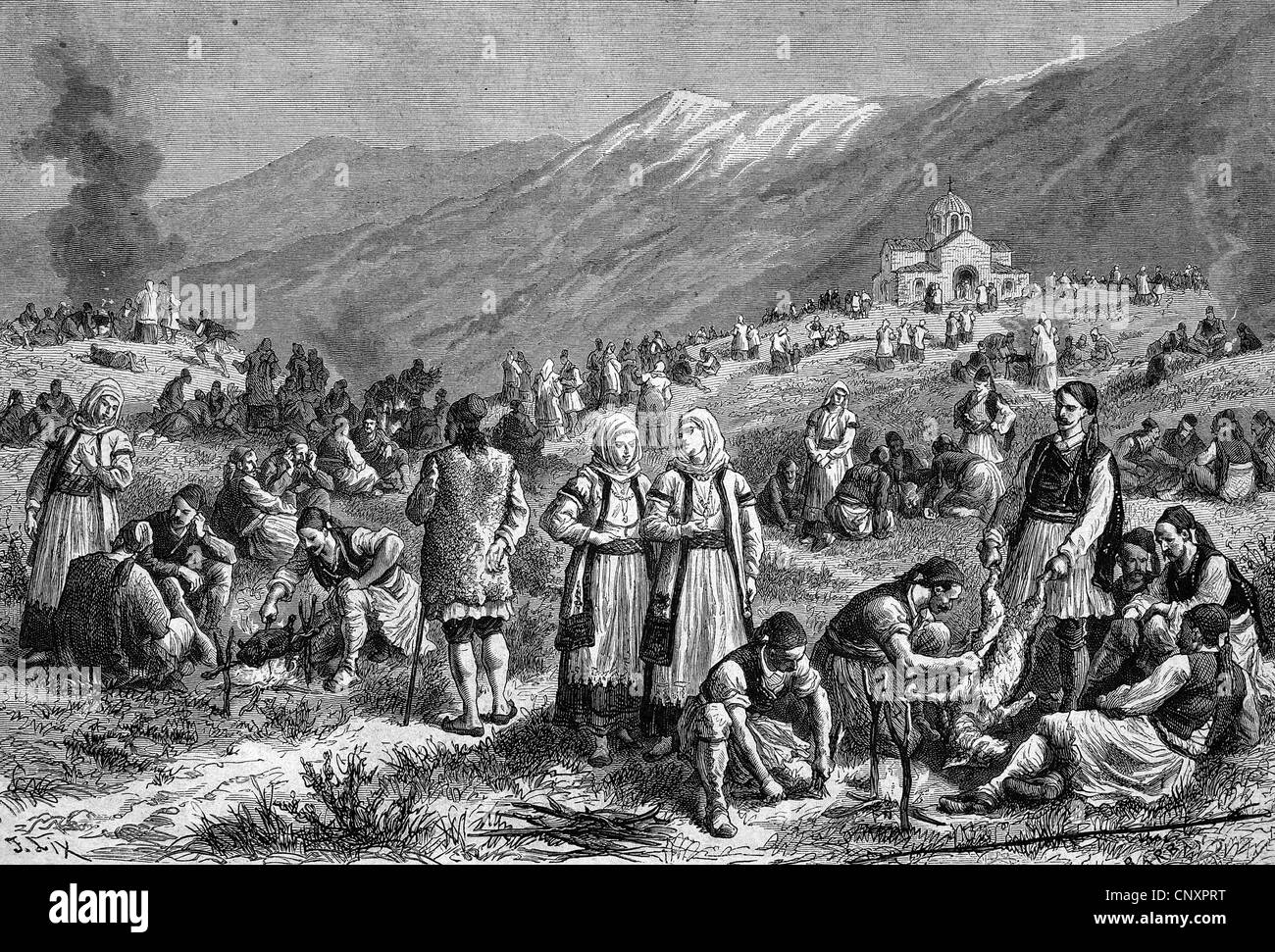 Festival at the end of the fasting period in Thebes, Egypt, historical engraving of 1883 - Stock Image