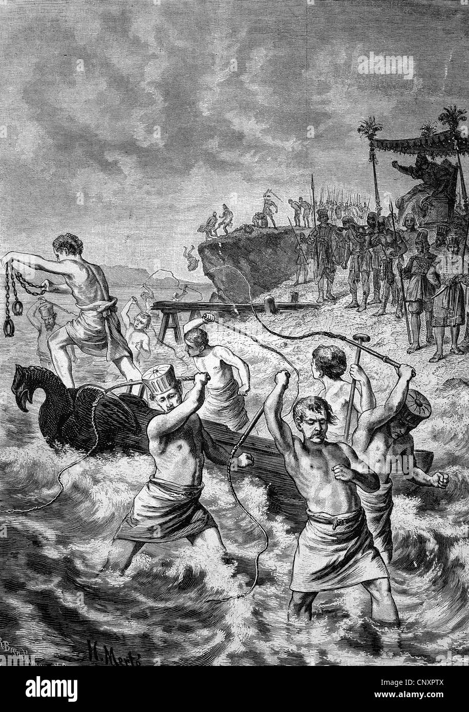 Xerxes giving the sea a whipping after the building of a bridge in the Dardanelles failed, 519 BC - 465 BC, Xerxes - Stock Image
