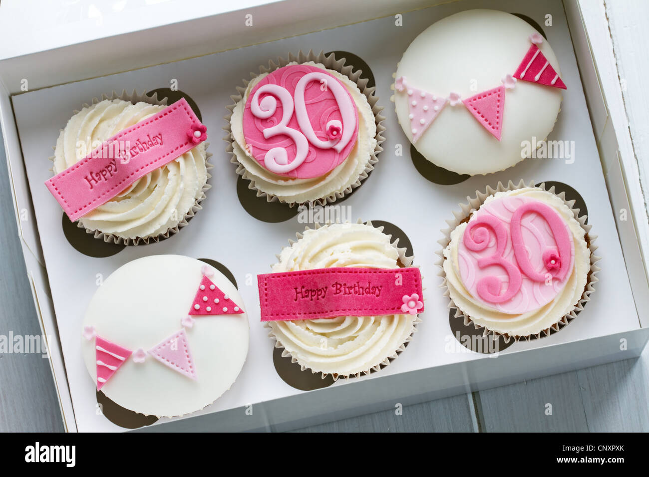 Cool 30Th Birthday Cupcakes Stock Photo 47917259 Alamy Personalised Birthday Cards Veneteletsinfo