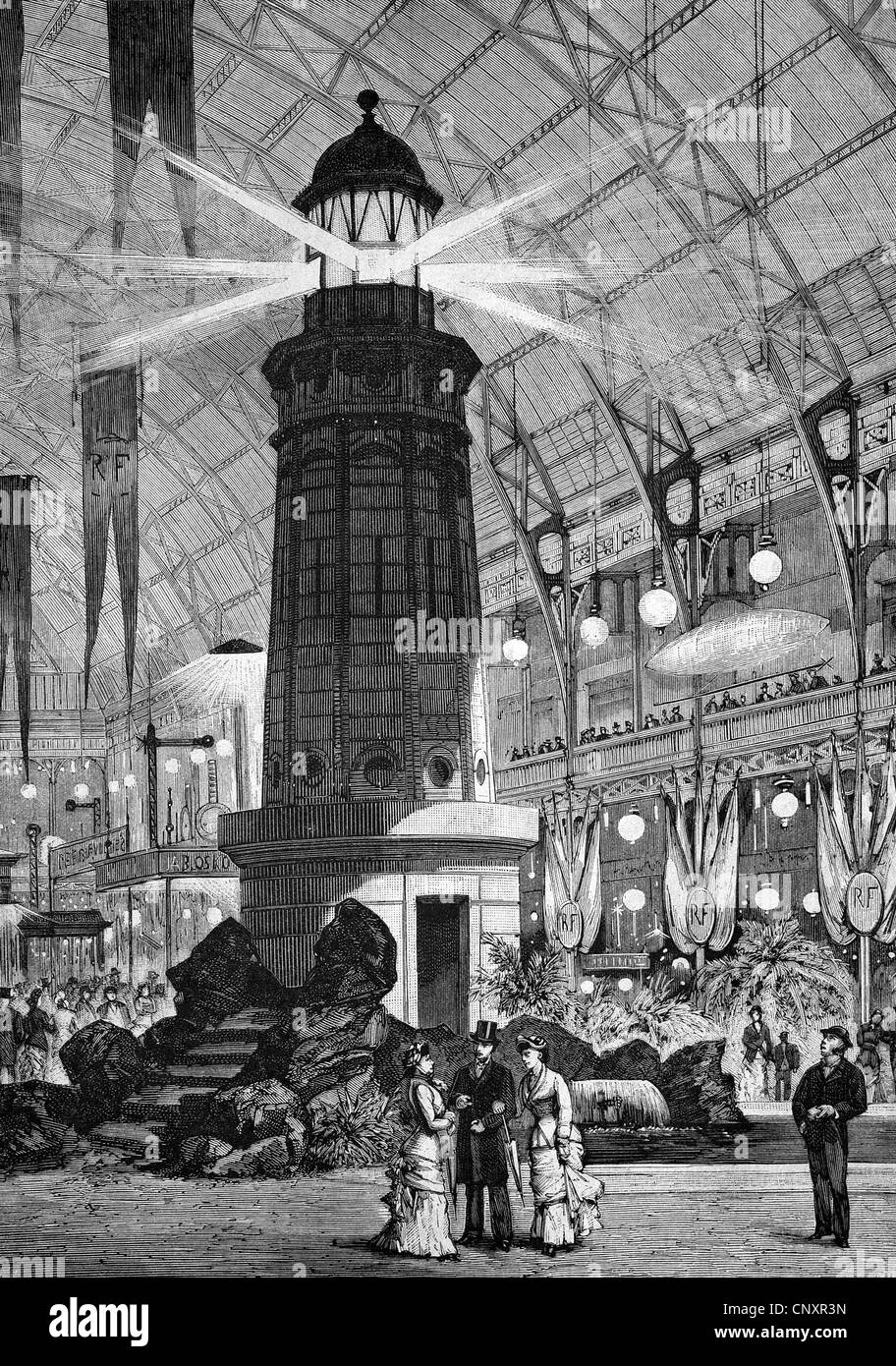 The Electrical Exhibition in Paris in 1881, France, historical engraving of 1883 - Stock Image