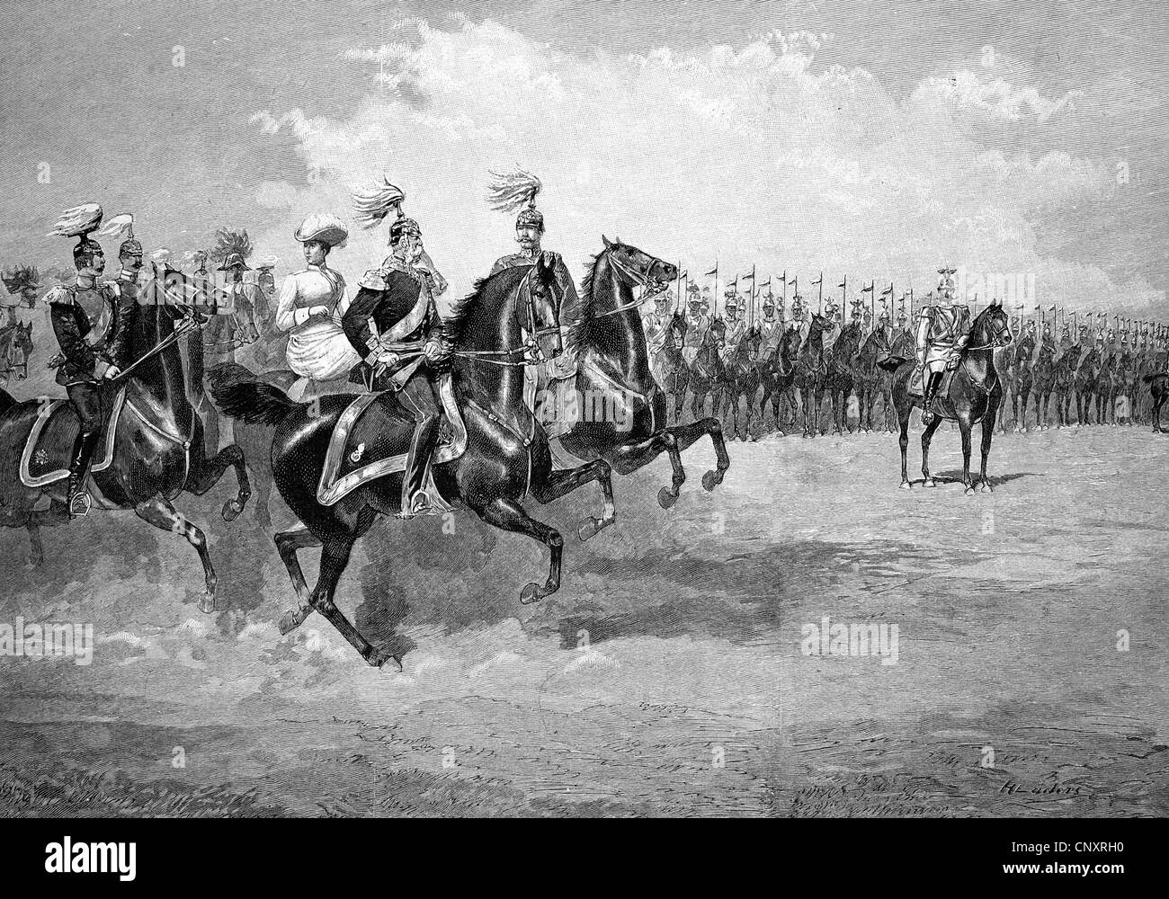 The parade in honor of Emperor Franz Joseph on Tempelhofer Feld field in Berlin, historical engraving, about 1888 - Stock Image
