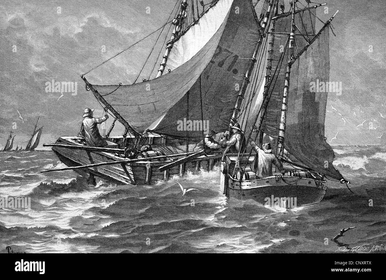 Liquor trade on the open North Sea, historical engraving, 1888 - Stock Image
