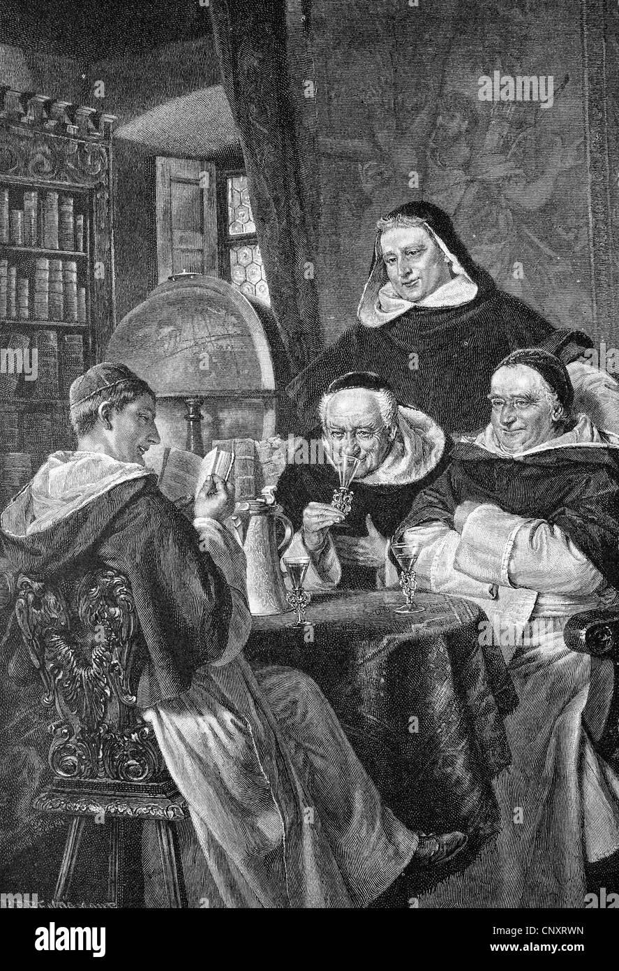 Monks drinking wine, historic engraving, 1888 - Stock Image