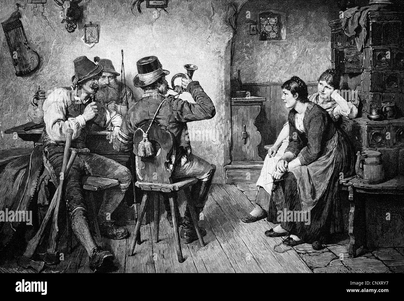 Man blowing a hunter's horn in an inn, historic engraving, 1888 - Stock Image