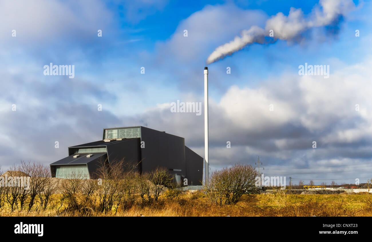 Near Esbjerg, Denmark, is a powerplant based on burning litter - Stock Image