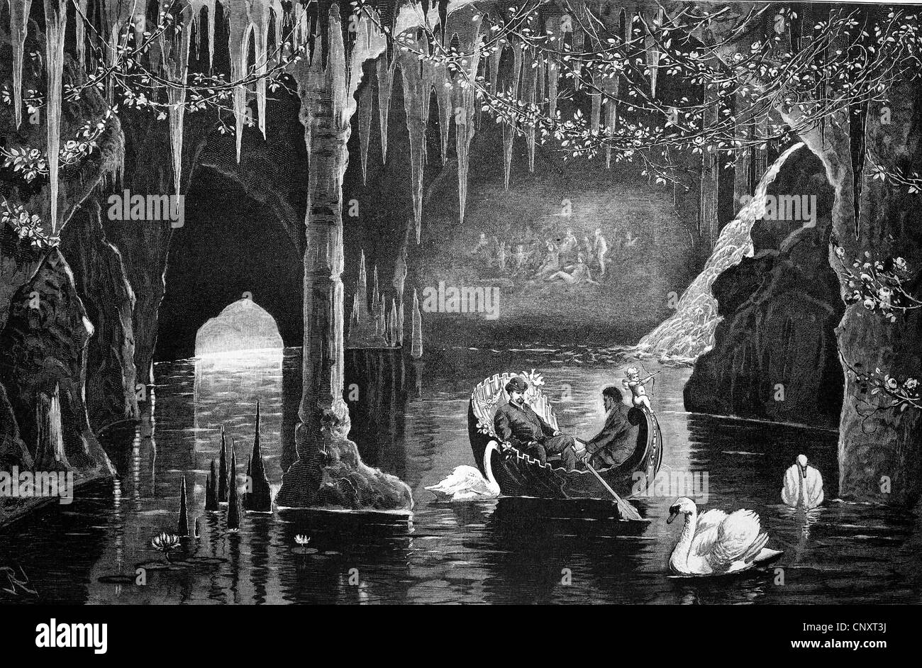 The Blue Grotto in Linderhof Castle, Bavaria, Germany, historical engraving, 1888 - Stock Image