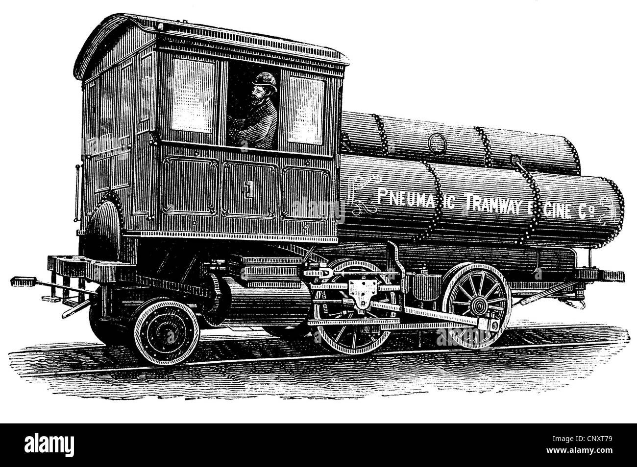 Locomotive operated by compressed air according to the system by Robert Hardie, historical engraving, 1888 - Stock Image