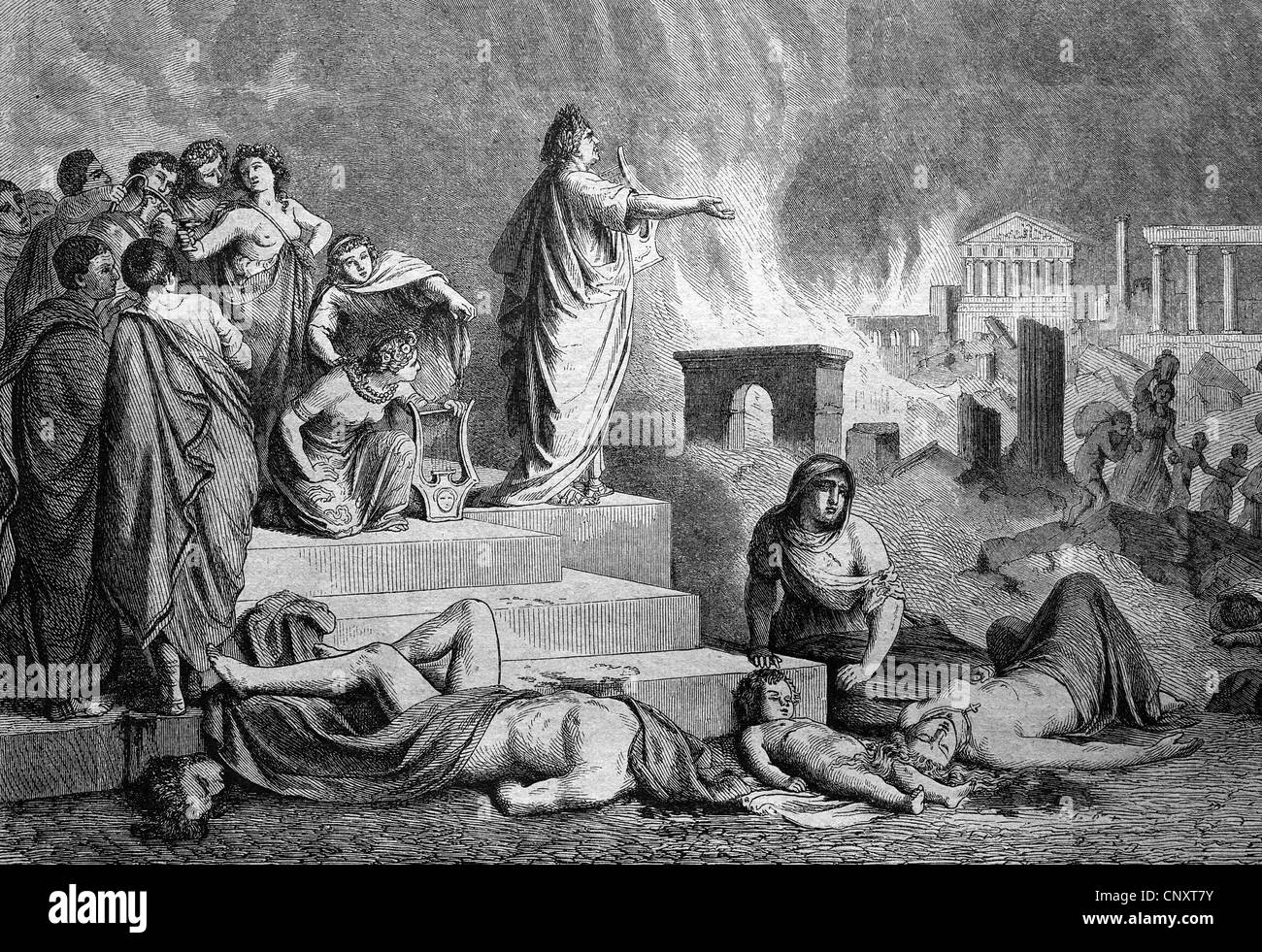 Nero during the burning of Rome, Italy, historical engraving, 1888 - Stock Image