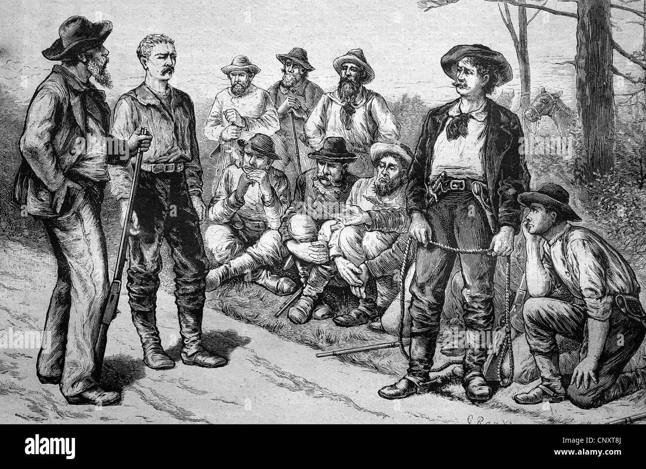 Lynching court, Texas, USA, historical engraving, 1888 - Stock Image