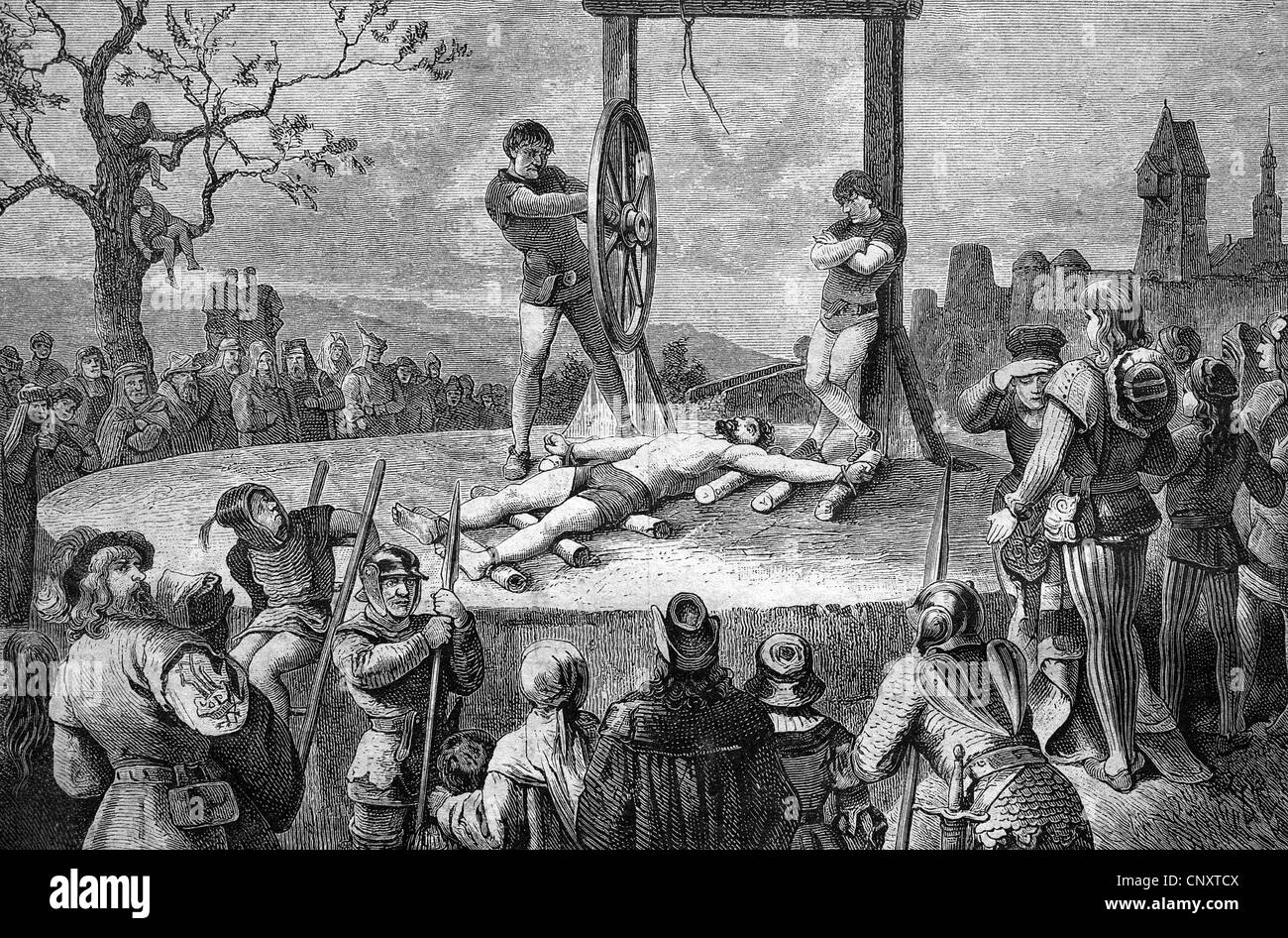 Death penalty by means of the wheel, historical illustration, wood engraving, circa 1888 - Stock Image