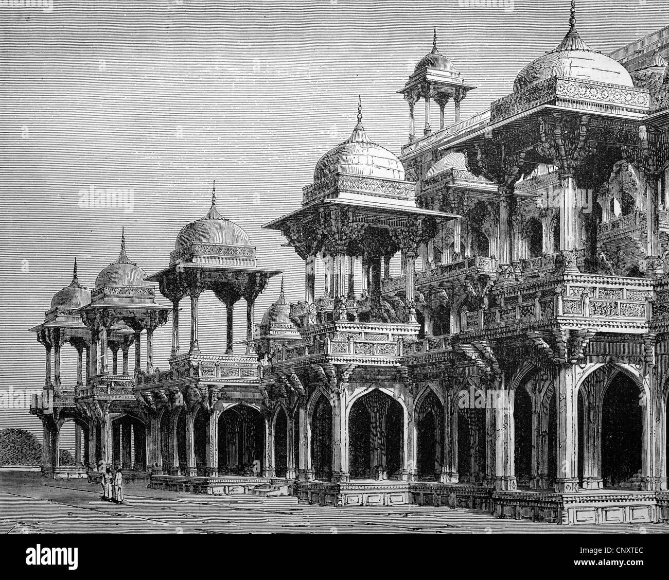 The mausoleum of Emperor Akbar, Agra, India, historical illustration, wood engraving, circa 1888 - Stock Image