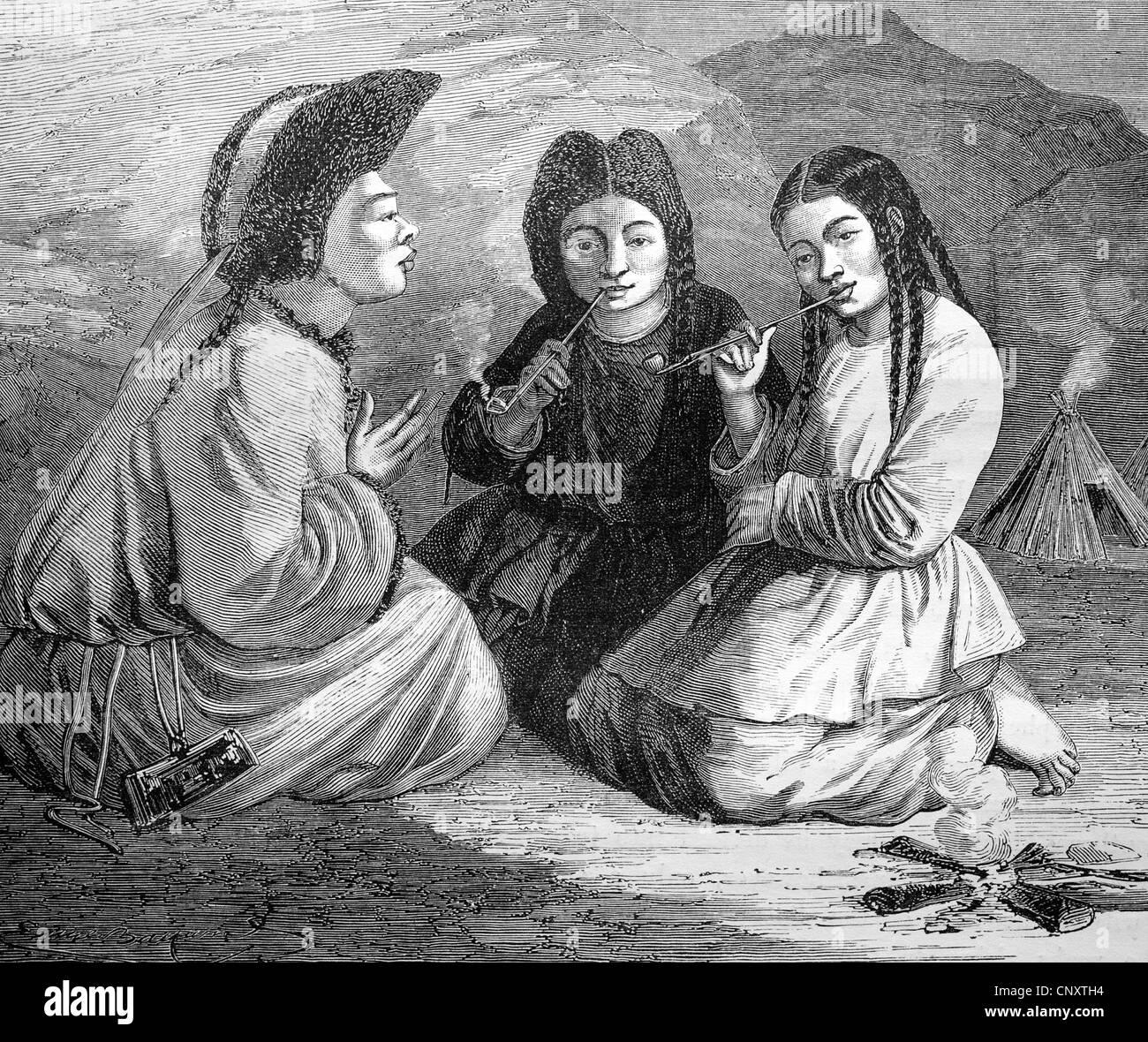 Kalchas women in Mongolia, historical illustration, wood engraving, circa 1888 - Stock Image