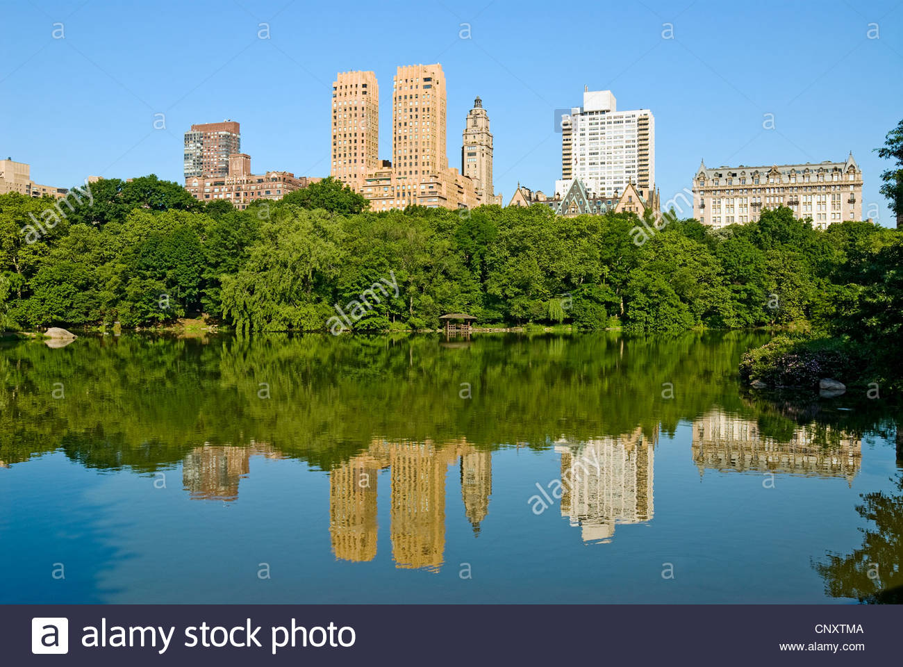 Central Park The Lake Central Park West Skyline Dakota - Stock Image