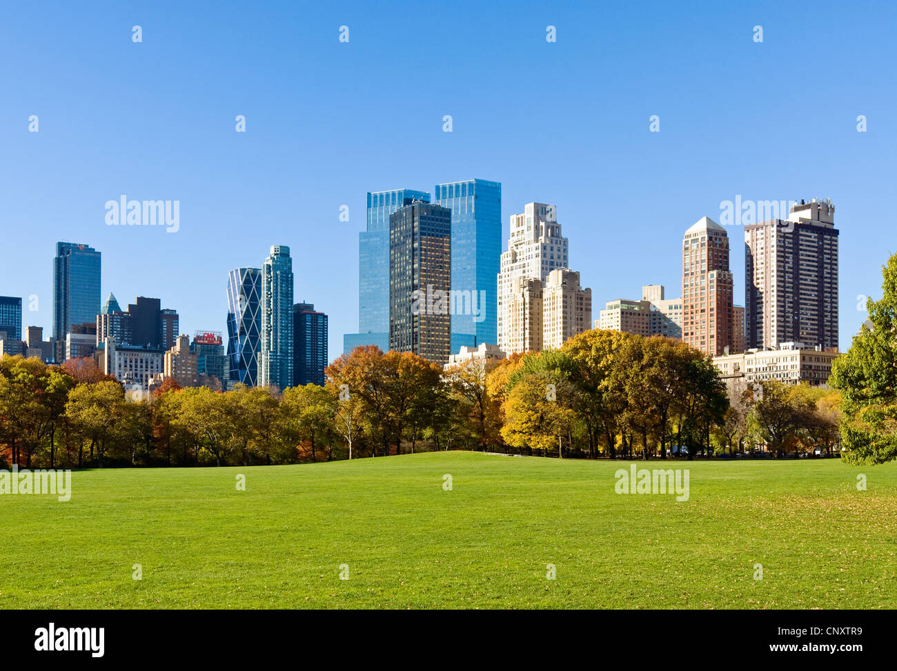 Central Park Skyline Time Warner Center 15 CPW - Stock Image