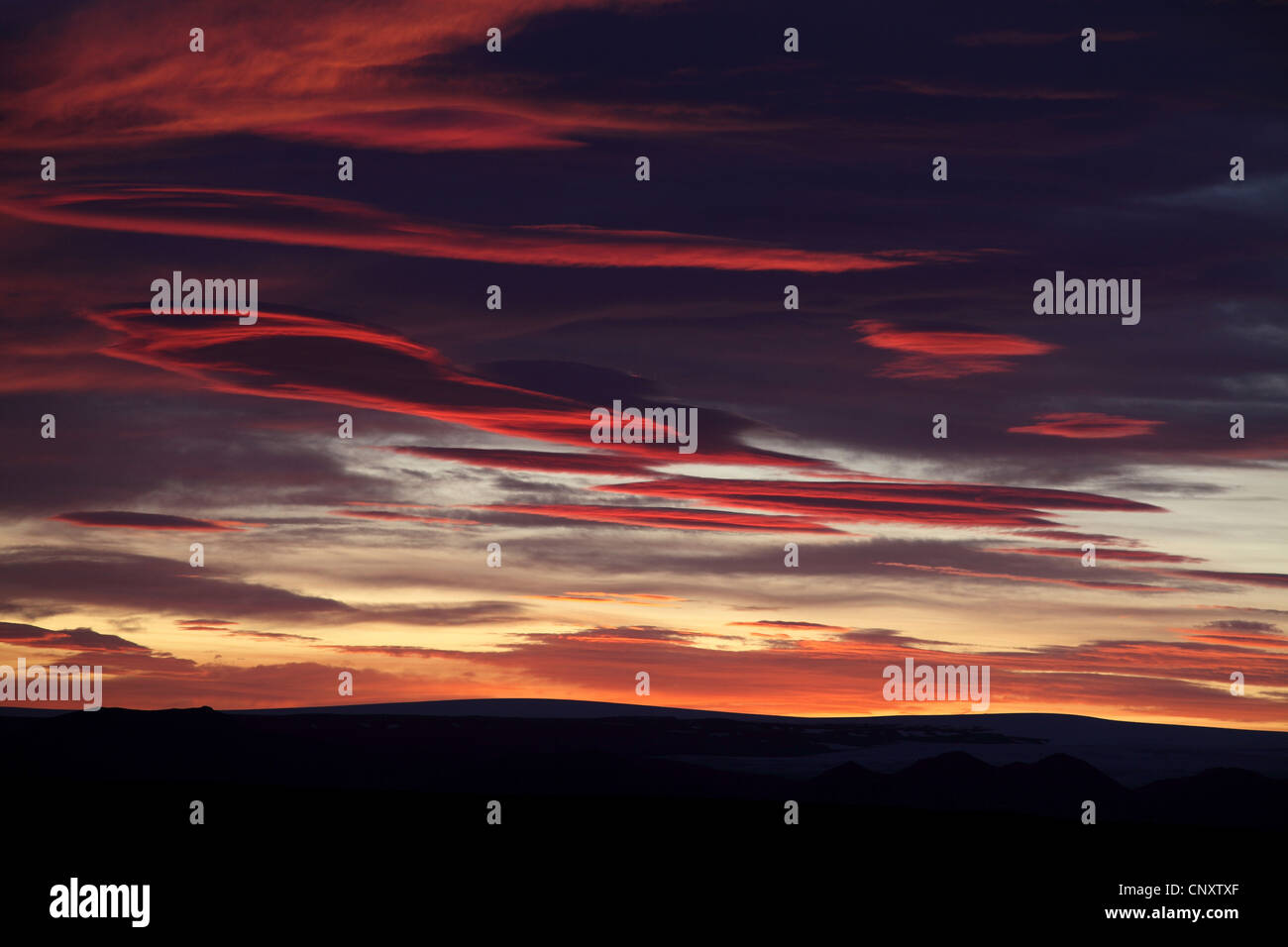 evening sky, Iceland, Gullfoss - Stock Image