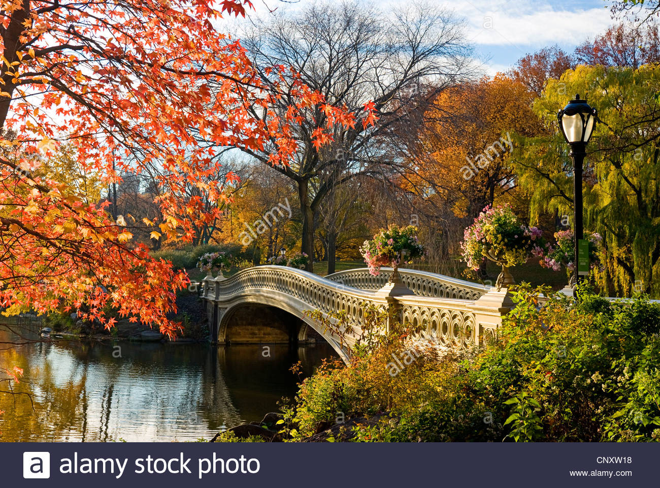 Bow Bridge, Central Park, New York City in Autumn. - Stock Image