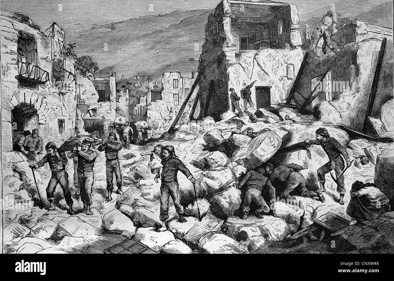 After the earthquake of Ischia, 1883, Italy, historical engraving, 1888 - Stock Image