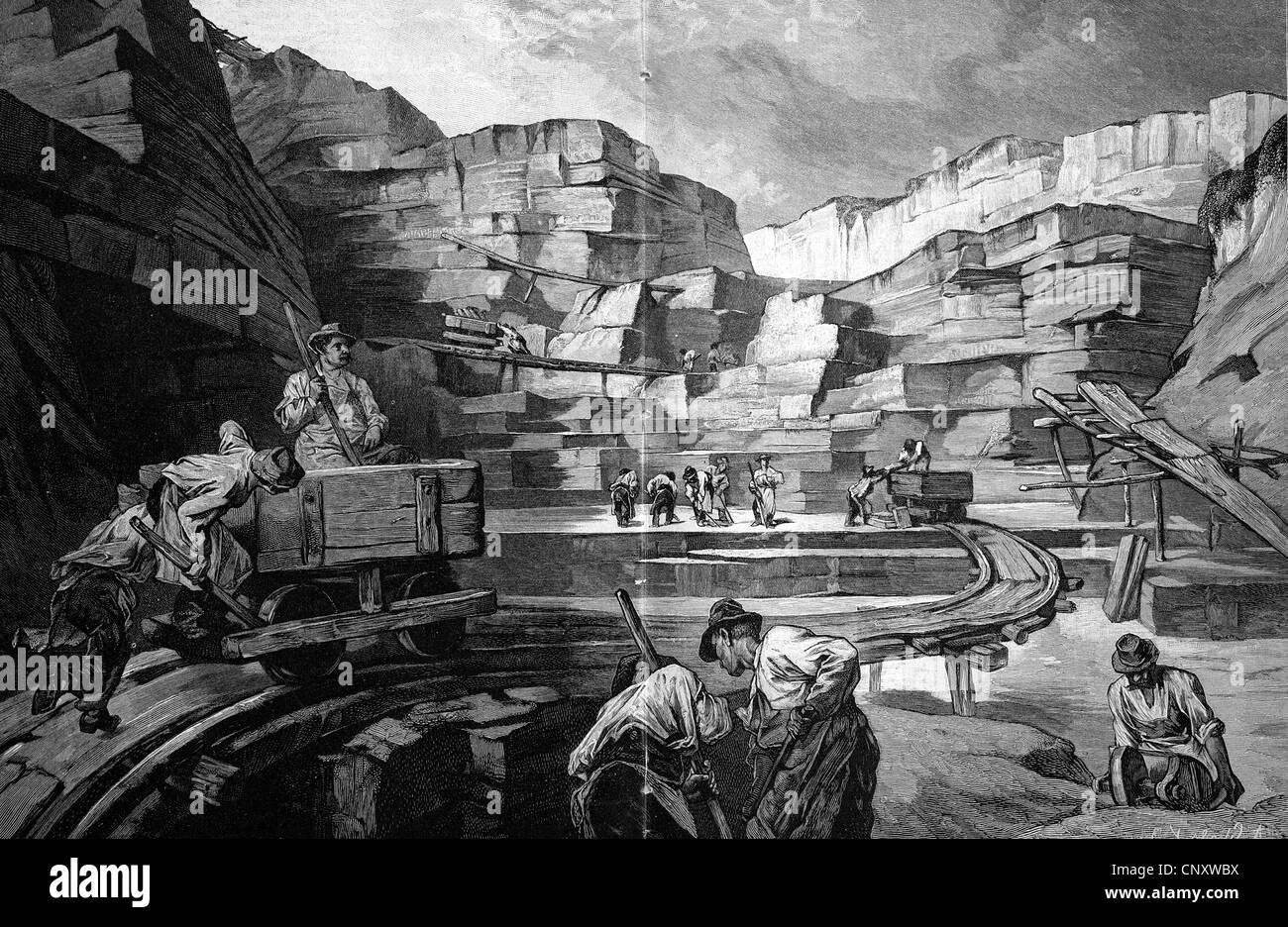The Moernsheimer quarry near Sonthofen, Historical Illustration, woodcut, ca 1888 - Stock Image
