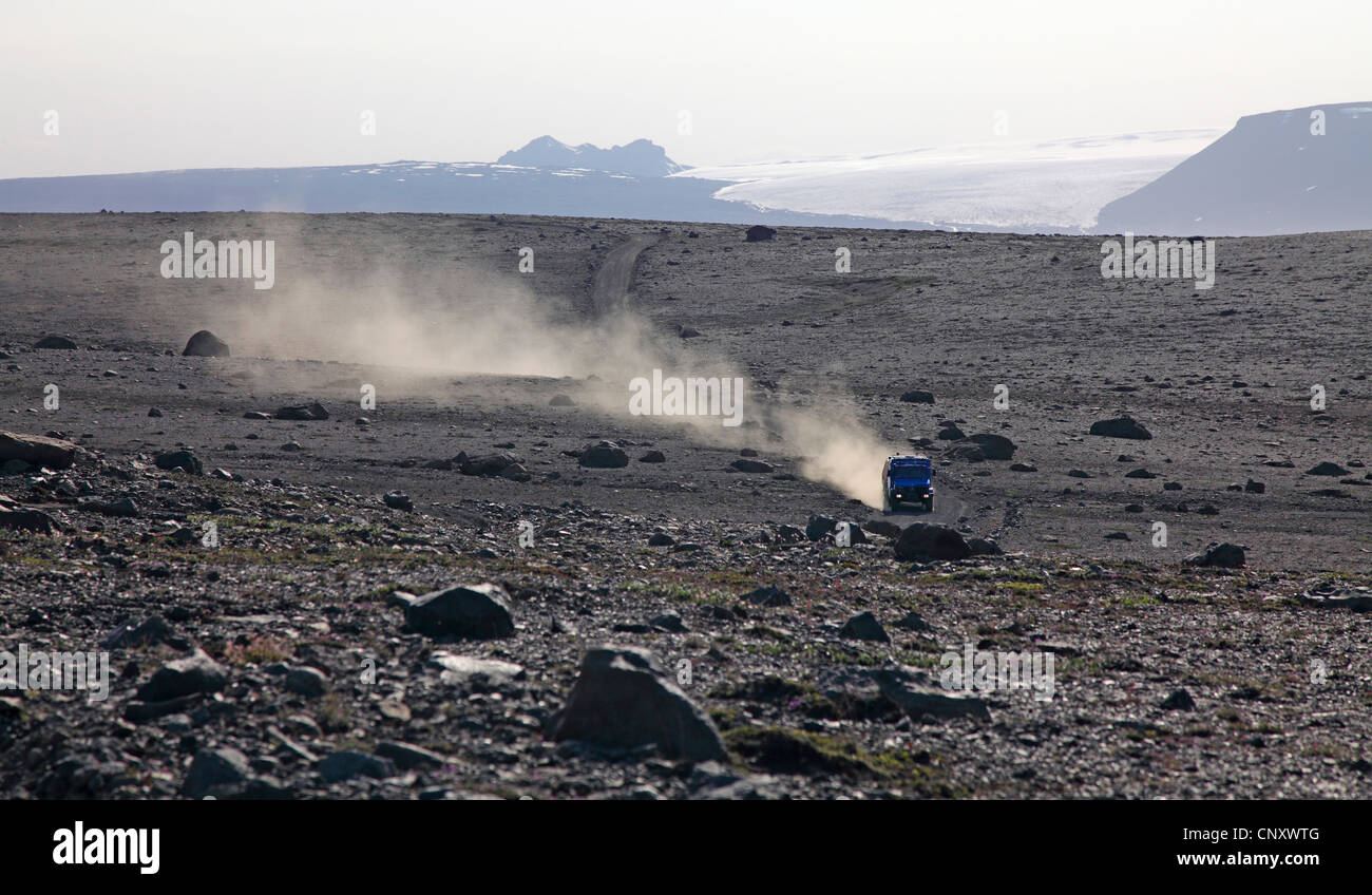 all-terrain vehicle on Kjoelur highland road, Iceland - Stock Image