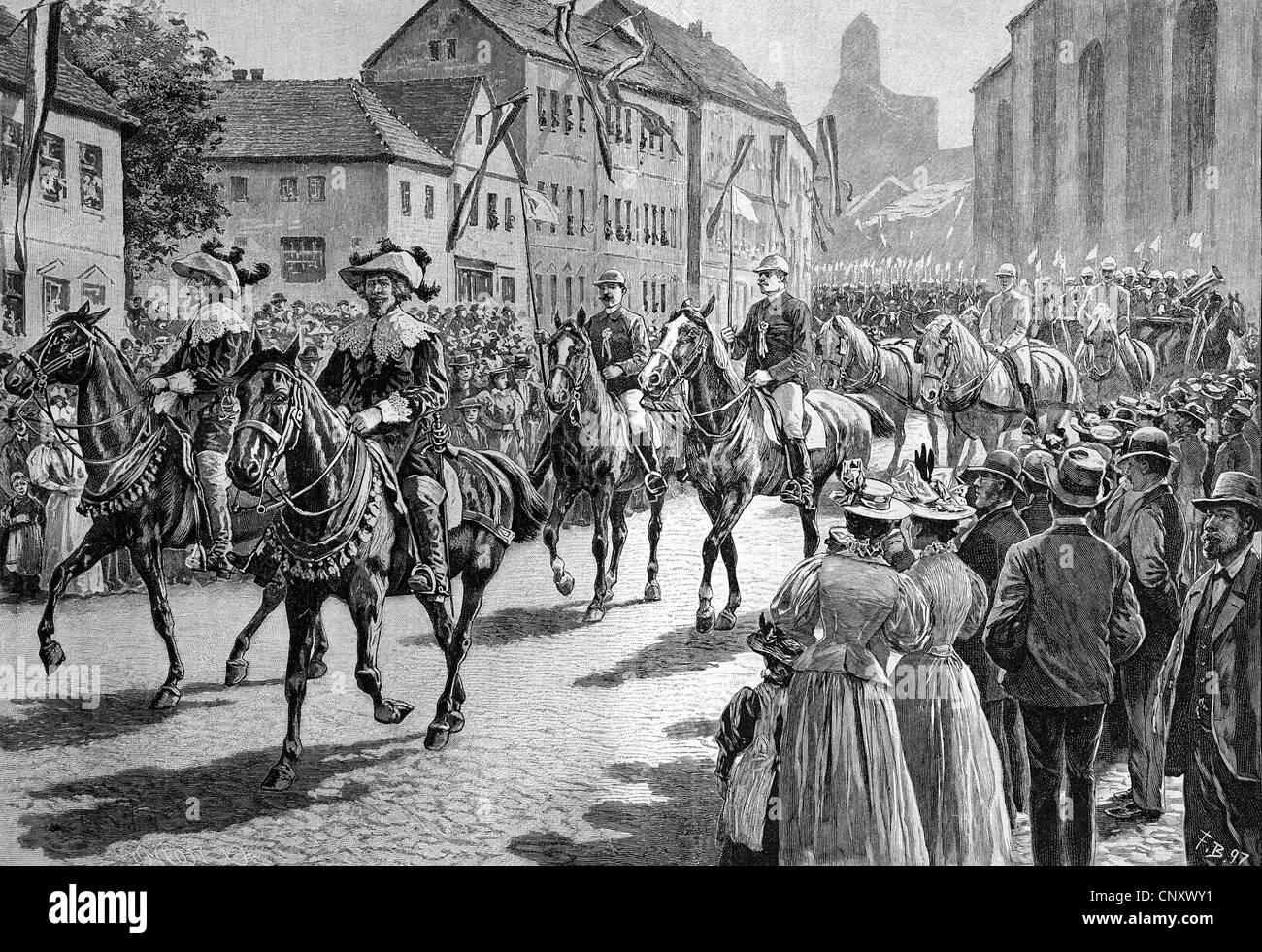 Ringreiterfest gymkhana, Alsen, Sonderborg, Denmark, historic wood engraving, about 1897 - Stock Image