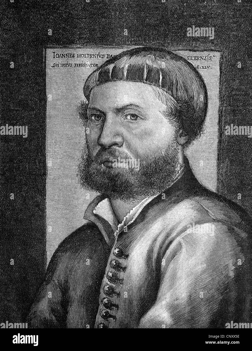 Hans Holbein the Younger, 1497 - 1543, a German painter, historic wood engraving, about 1897 - Stock Image