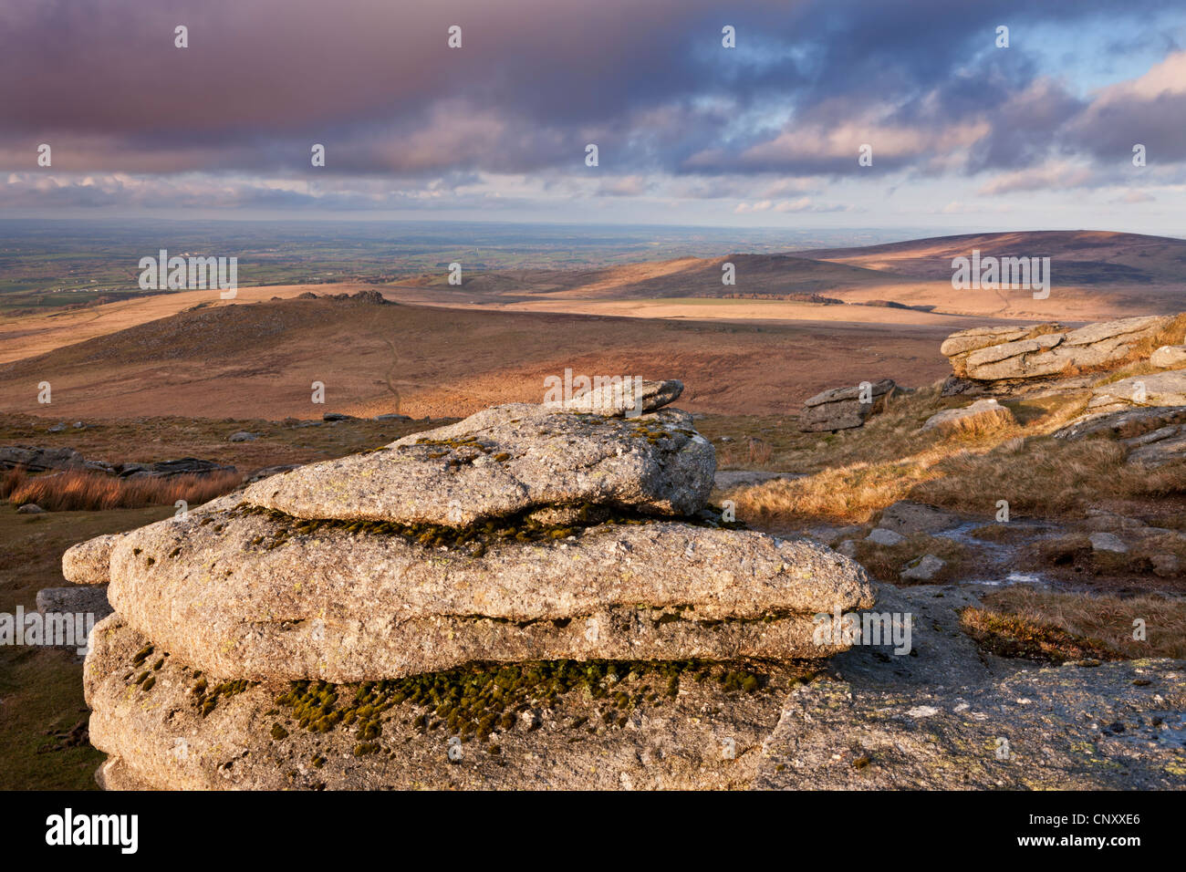 Looking south from Yes Tor towards West Mill Tor, Dartmoor, Devon, England. Spring (April) 2012. - Stock Image