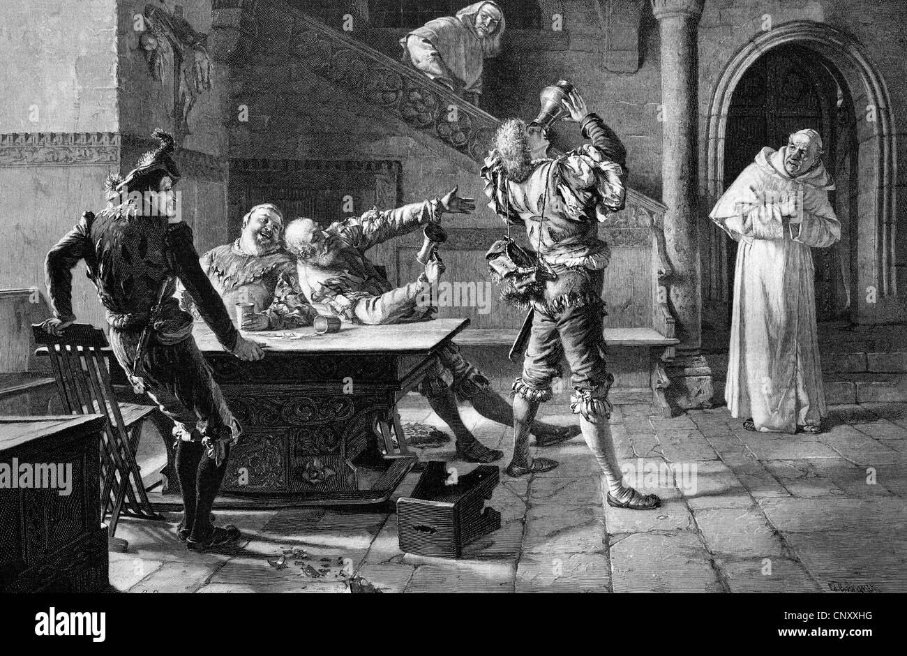 Undue guests at the abbey tavern, historic wood engraving, about 1897 - Stock Image