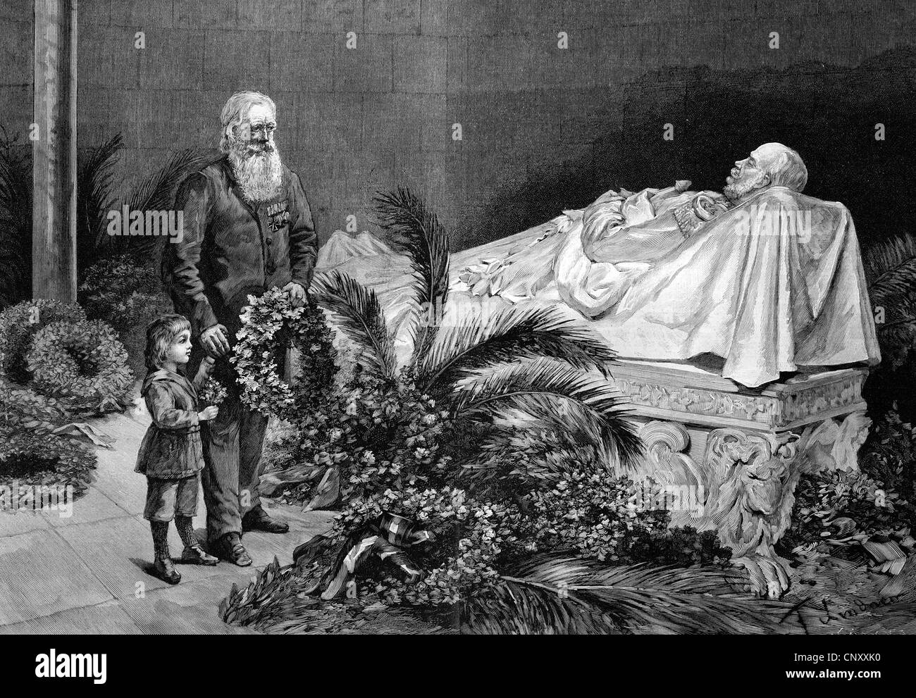 In the crypt of the warlord, historic wood engraving, about 1897 - Stock Image