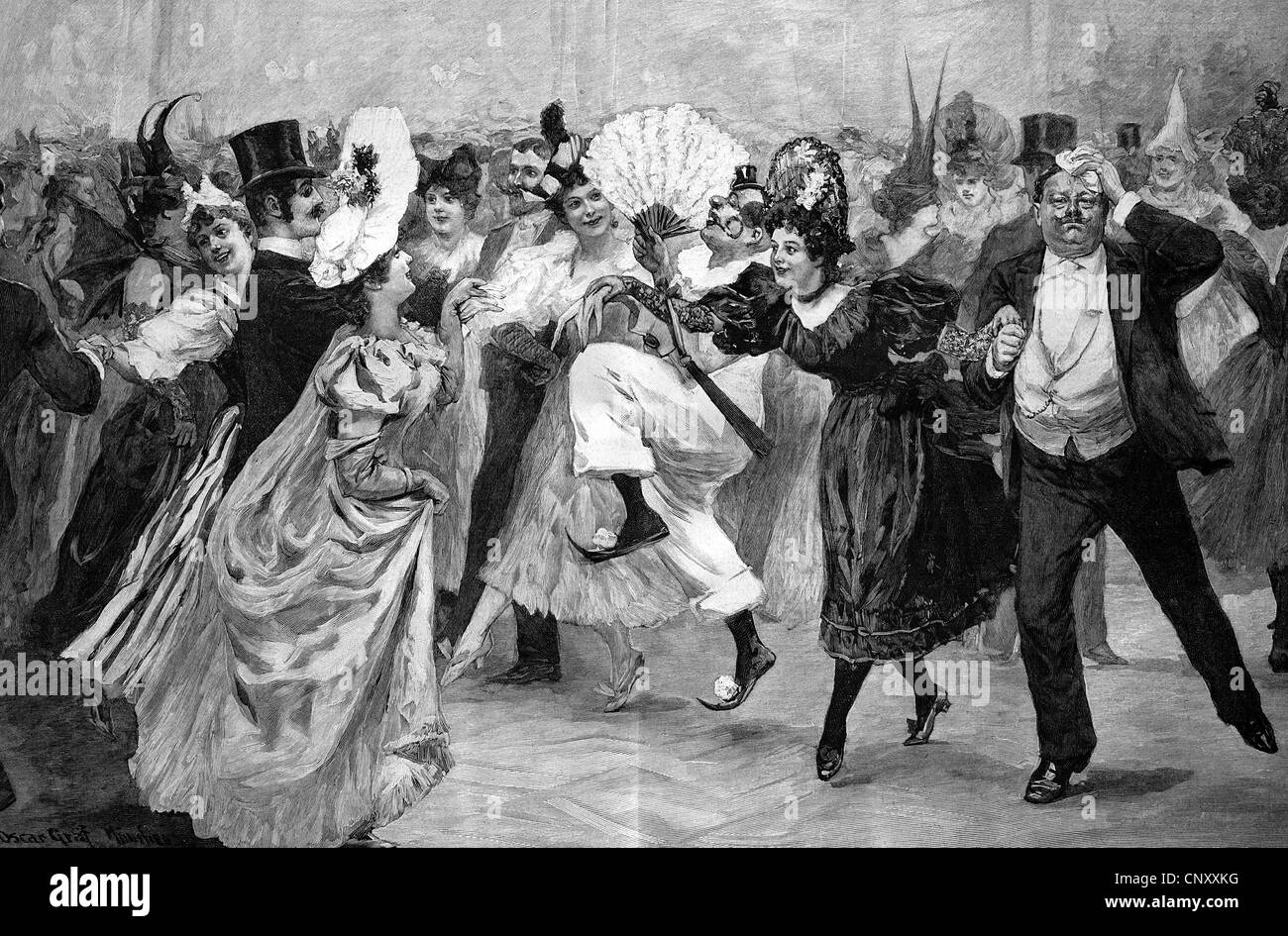 Francaise, dance at the carnival, historic wood engraving, about 1897 - Stock Image