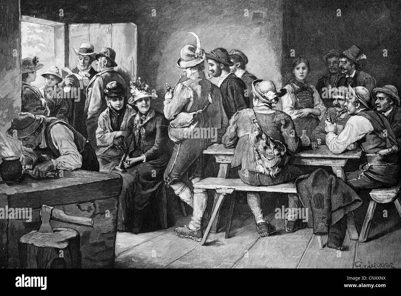 Group of peolpe at the inn, historic wood engraving, about 1897 - Stock Image
