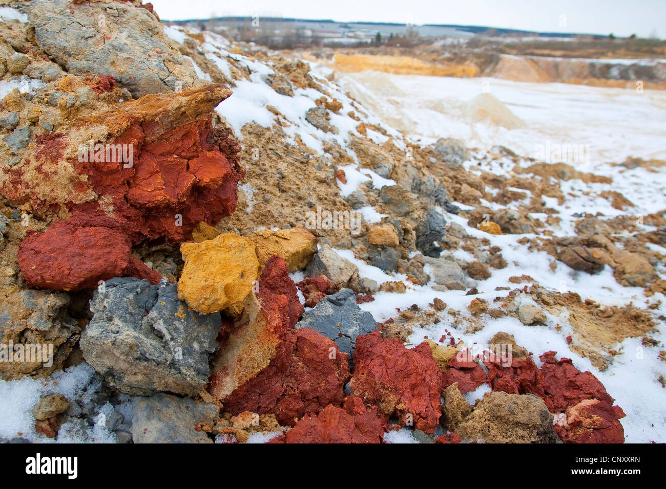pieces of soil of different colours at a slope Stock Photo