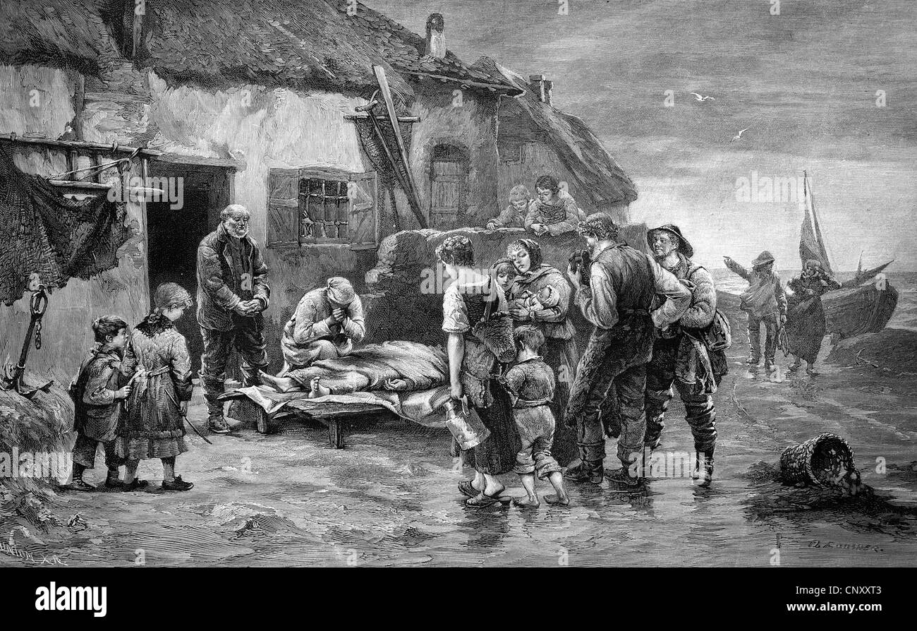 Casualties being rescued after a storm, historic wood engraving, about 1897 - Stock Image