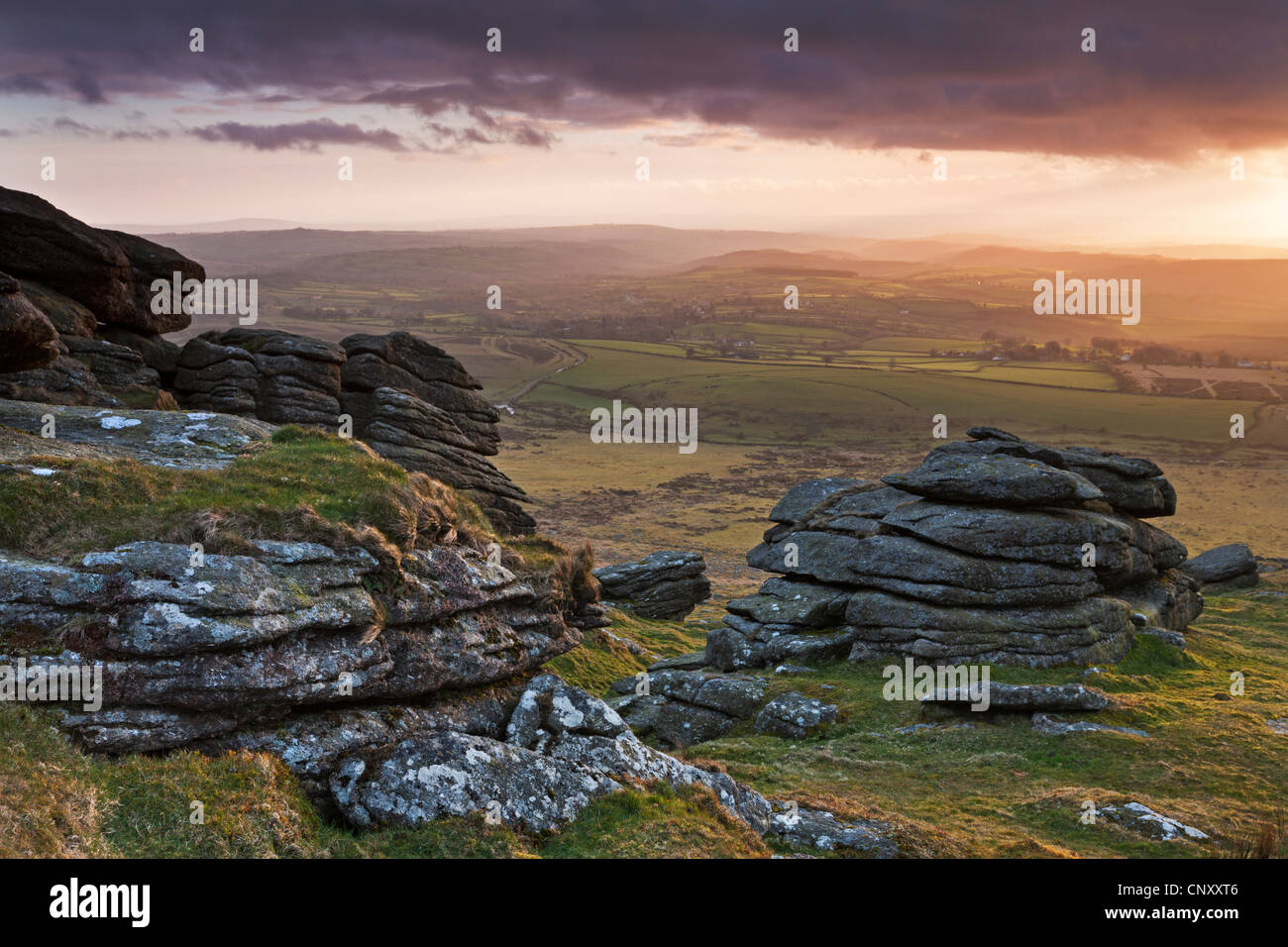 Evening sunlight over Devon countryside, viewed from Arms Tor, Dartmoor, Devon, England. Spring (April) 2012. - Stock Image