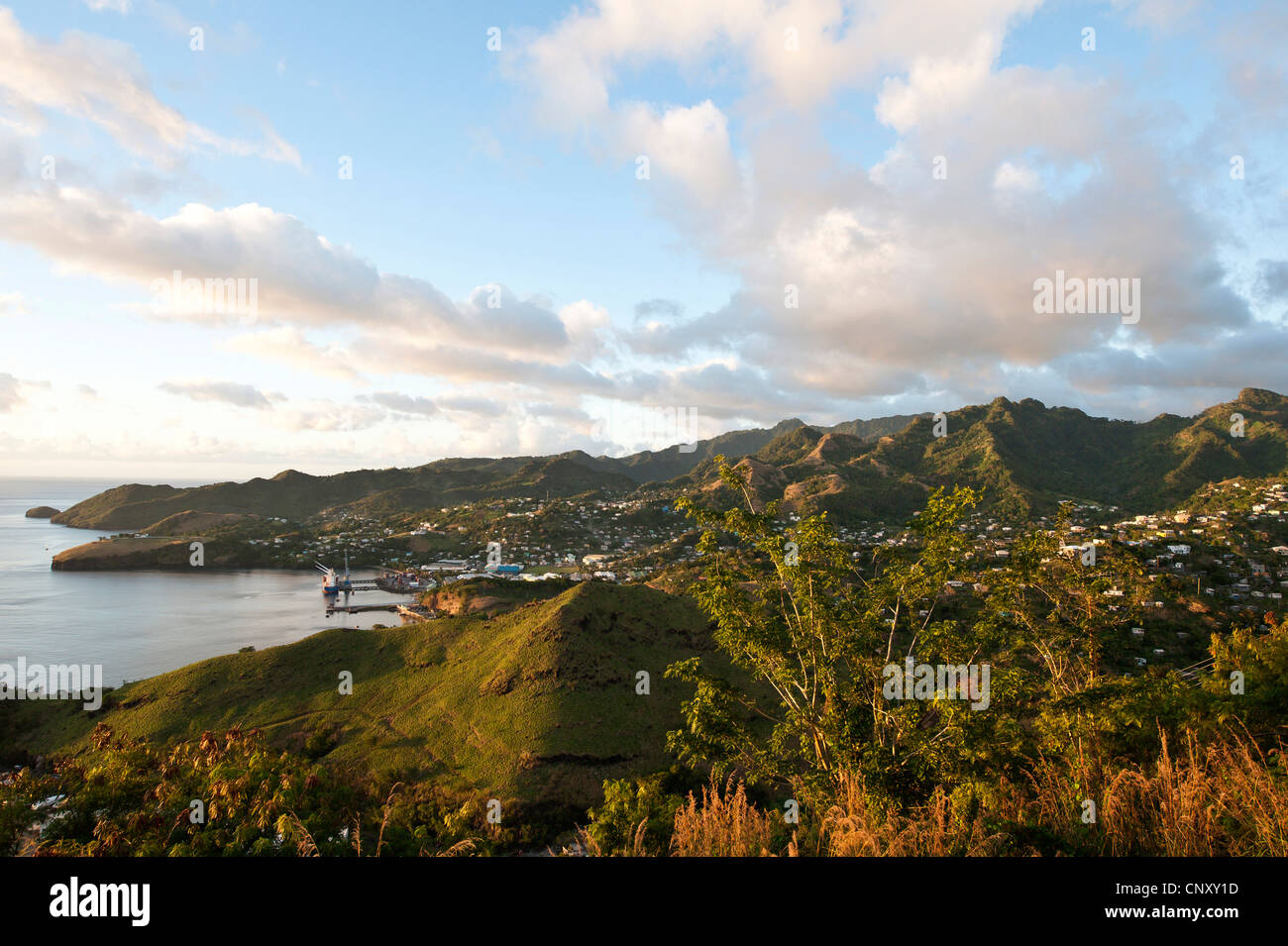 view from a gazebo over the forested and populous Caribbean coast, Saint Vincent and the Grenadines, Antillen, Camden - Stock Image
