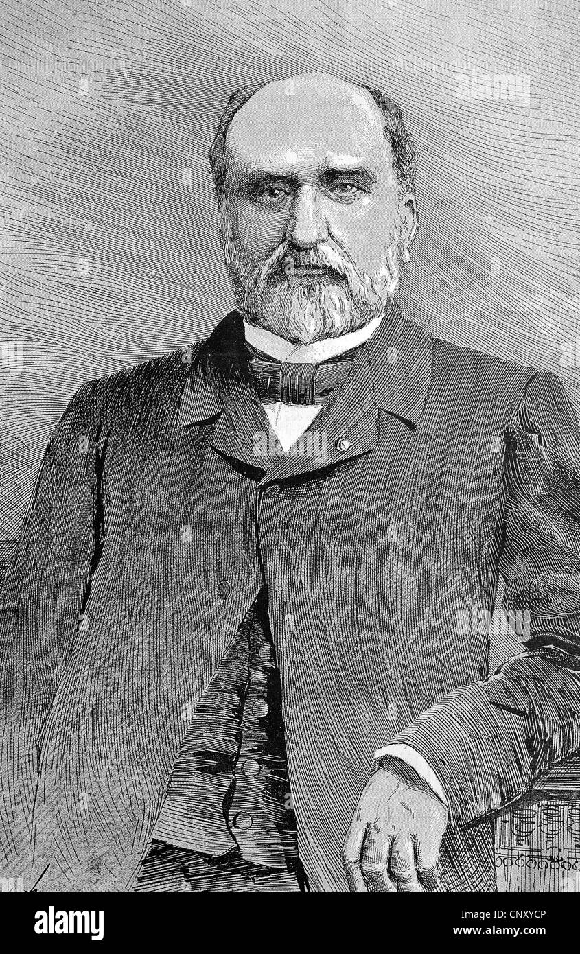 Eudore Pirmez, 1830 - 1890, Belgian statesman, historic wood engraving, about 1888 - Stock Image