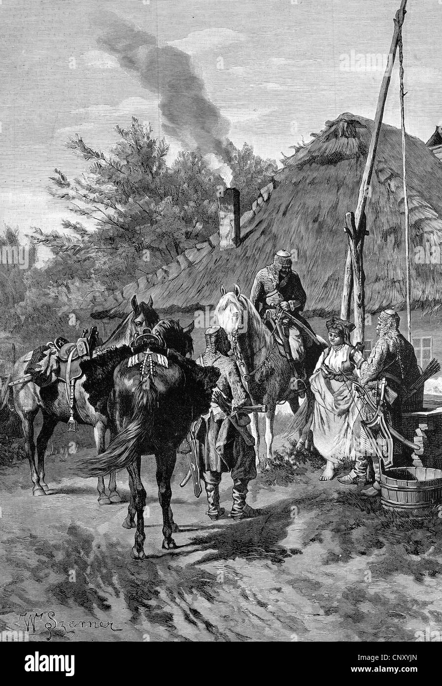Prussian soldiers in the 13th century at a village well, historic wood engraving, about 1888 - Stock Image