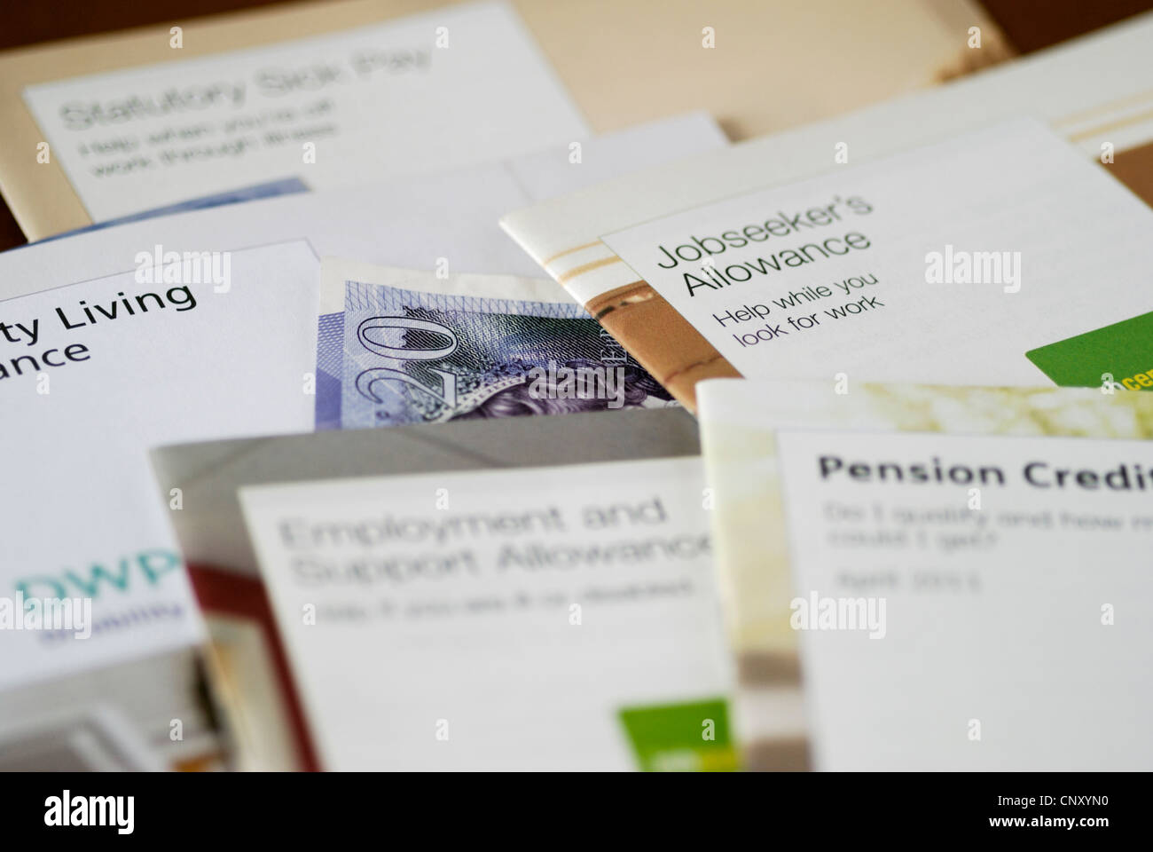 Leaflets about UK government benefits and allowances - Stock Image
