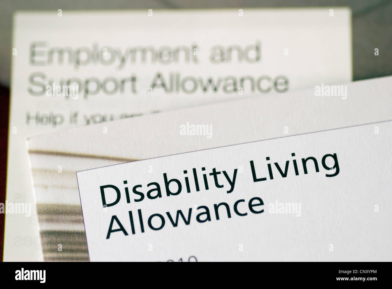 UK government leaflets describing benefits available to people disabled - Stock Image