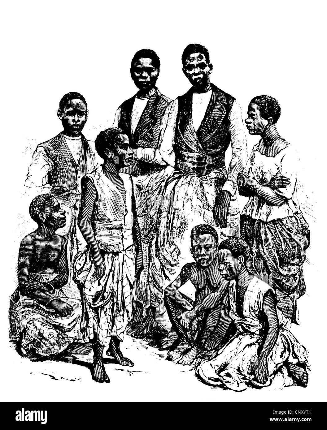 Inhabitants of the Congo, historical woodcut, circa 1888 - Stock Image