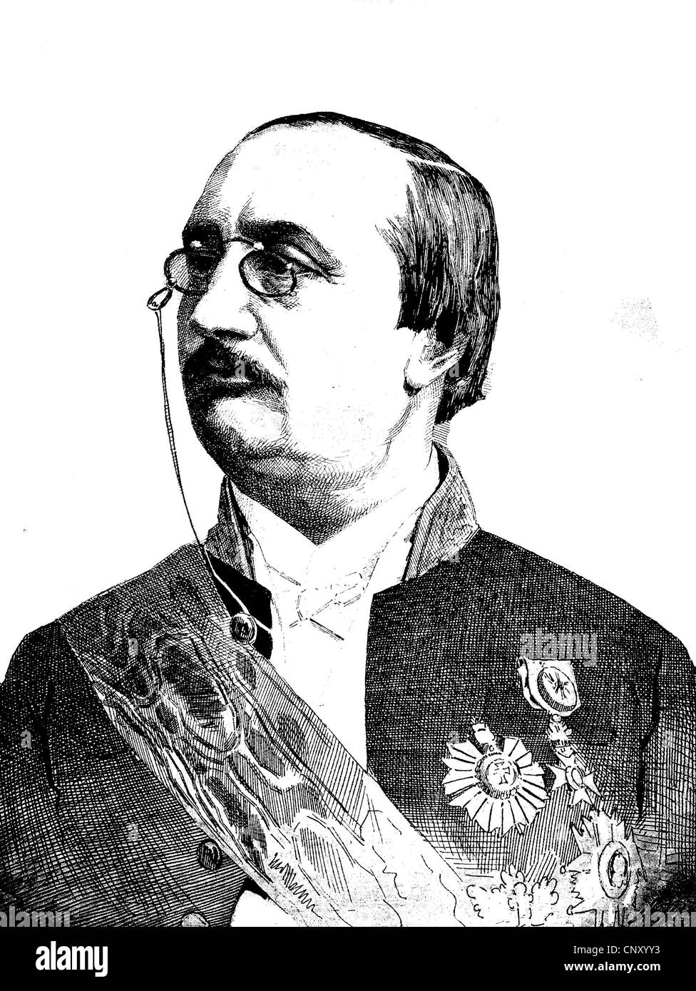 Jules Bara, 1835 - 1900, Belgian statesman, historical woodcut, circa 1888 - Stock Image