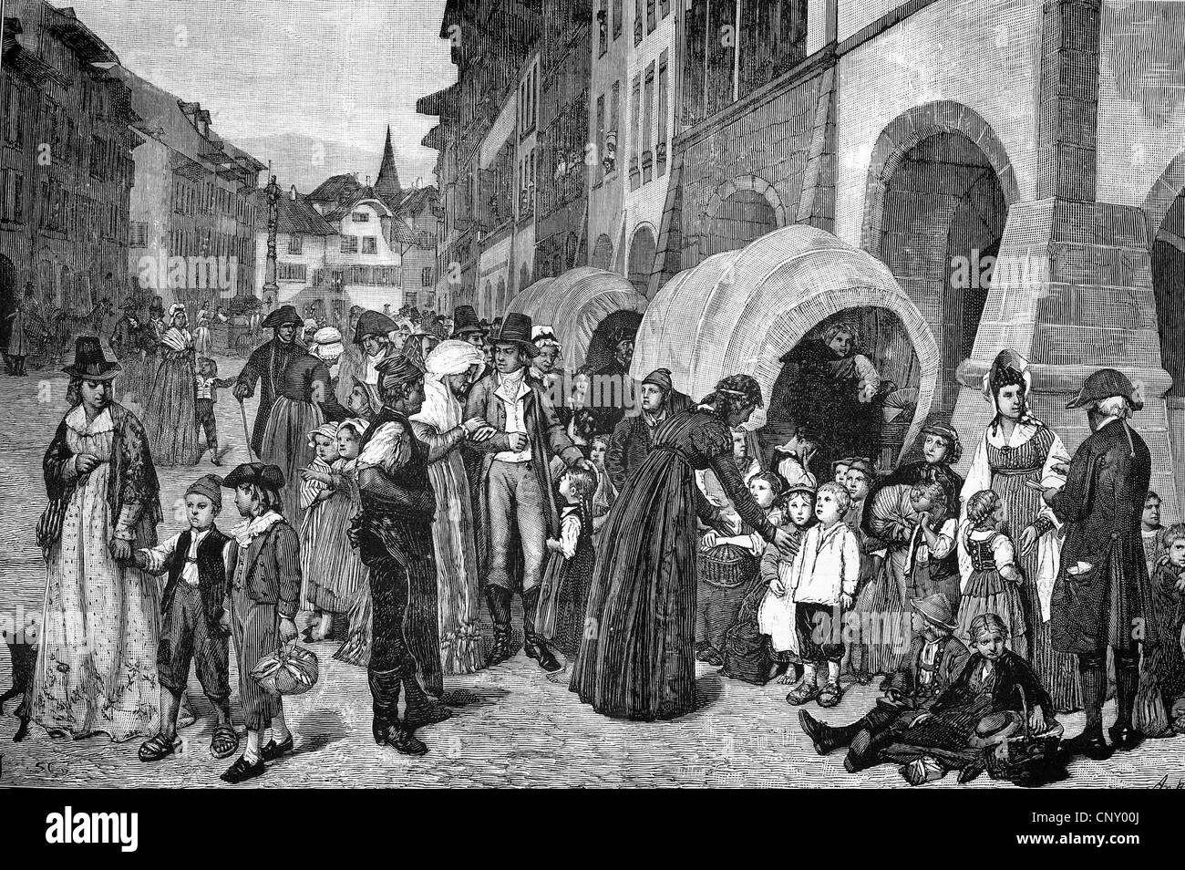 French emigrants, 1793, gather in Bern - Stock Image